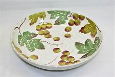 """Loucarte 13"""" Round Serving Bowl hand Painted Grape Motif Made in Portugal"""