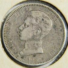 SPAIN, Alfonso XIII: 1903(03) silver Peseta, 3-yr type, 1st yr of issue; VF