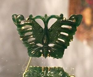 EXCEPTIONAL CHINESE VINTAGE 18K Gold NATURAL JADE BUTTERFLY-CARVED-SOLID 18K BAC