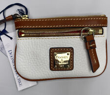 Dooney & Bourke Coin Purse Case Key Wallet Pebble Leather Zip White Brown NWT