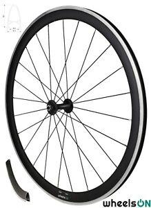 700c wheelsON Road Racing Bike Front Wheel 40 mm Deep Aluminium Black Rim Brake
