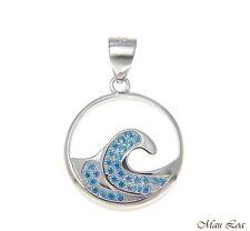 925 Sterling Silver Genuine Blue Topaz Hawaiian Sea Ocean Wave Pendant