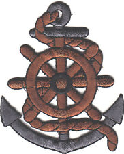 """Anchor w/Ship's Wheel (3"""" )Nautical Ocean Iron On Embroidered Patch"""