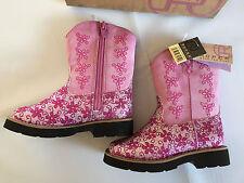BNWT Little Girls Sz UK 6.5 US 7 Roper Cute Glitter Pink Zip Side Western Boots