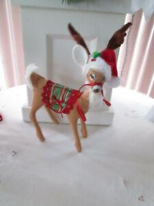 """Annalee Doll 8"""" Plaid Tiditngs Christmas Deer, 2018, Prestine. NMWT"""