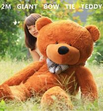 HUGE 2M GIANT BROWN TEDDY BEAR BOW TIE CUDDLY SOFT PLUSH TOY DOLL STUFFED