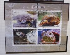 2005 CONGO  TURTLES 4 STAMP MINI SHEET CTO STAMPS