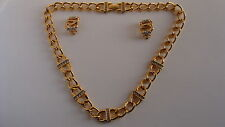 Rare set FRANKLIN MINT Necklace earrings in gold plated 22 Karat and stones