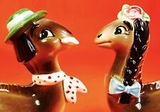 CRAZY CUTE! Dinosaur Salt and Pepper Shakers Vintage Estate Sale Japan Norcrest