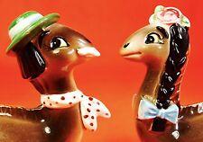 CRAZY CUTE! Dinosaur Salt and Pepper Shakers Vintage Estate Sale Japan Norcrest