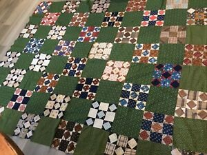 Antique Vintage Patchwork Quilt Top, Nine Patch With Squares, 1900's Era, Cailco