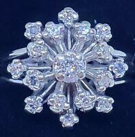 Snowflake 14k White Gold Diamond  Ring  Size 7 1/4 .50 carats.