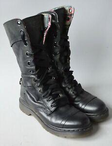 Ladies Dr. Martens Trumph 1914 Black Leather Tartan Lined 12 Hole Boots UK 4