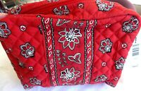Vera Bradley Red Bandana Iconic Large Cosmetic makeup case NWT Free Ship