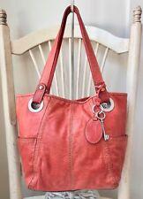 FOSSIL HATHAWAY Salmon Glazed Leather Tote Shoulder Handbag Shopper Carryall EUC