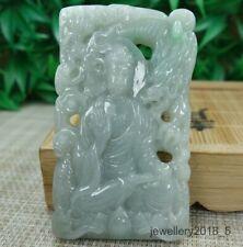 Certified  Light green 100% Natural A Jadeite jade Pendant~Amitabha Dragon 神龙护主