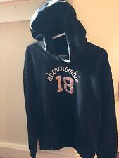 Girls ABERCROMBIE Black Hoodie Hooded Sweatshirt Small 10