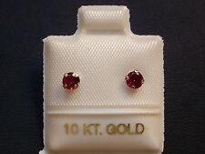 Granat Ohrstecker Ohrringe - 3,5 mm - 10 Kt. Weiß Gold - 417 - Brillant Schliff