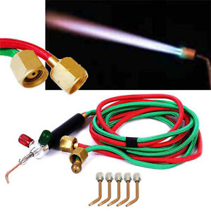 Gas Welding Soldering Kit 5 Tips Oxygen Acetylene Torch Gun Portable Jewelry