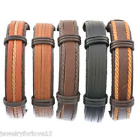 1Set Herren Armkette Armband Lederband Schwarz Wickelarmband Verstellbar 20-22cm