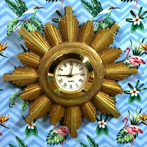 1:12 Dollhouse miniature vintage wall clock - sunburst/starburst golden frame
