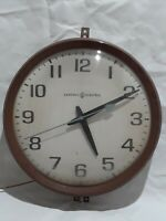 "GE General Electric 1960's 14"" Wall Clock School Classroom Brown Bakelite # 2012"