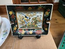 More details for vintage chinese oriental asian hand painted ceramic ashtray