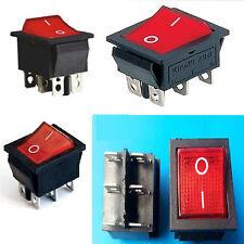 5 X INTERRUTTORE bilanciere 15A 250V rocker bipolare luminoso rosso DA PANNELLO