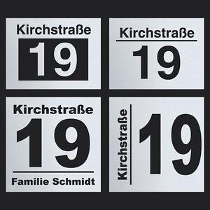 Hausnummernschild Hausnummer Edelstahl Straßenname Namenschild Türschild Schild