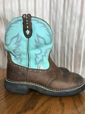 Justin Gypsy Brown Turquoise Leather Cowgirl Boot Size 8 B #L9915 GUC Ships Free