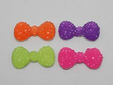 50 Mixed Neon Color Flatback Resin Dotted Rhinestone Bowknot Bow Cabochon 22mm