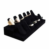 12 Ring Finger Display Black Velvet Jewelry Holder Retail Showcase Stand