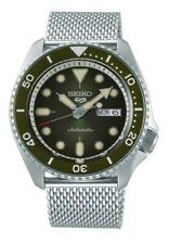 NEW Seiko 5 Sports 100M Automatic Men's Stainless Mesh Strap Watch Street Green