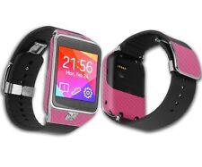 Skinomi Carbon Fiber Pink Skin+Screen Protector for Samsung Galaxy Gear 2 Watch