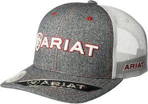 Ariat Mens Adjustable Snapback Mesh Cap Hat (Grey/White, One Size)