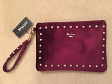 BNWT Dune Burgundy Velvet Clutch Bag with Pearl Trim - RRP £50