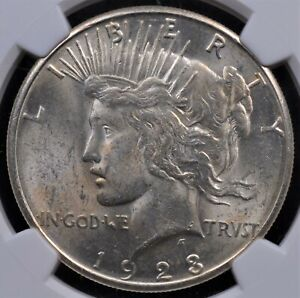 1923 S PEACE DOLLAR NGC MS 61 FROSTY WHITE LUSTER FAINT SWATH OF TONE ON OBVERSE