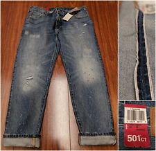 NEW Levis 501ct Womens Selvedge Patchwork Distressed Boyfriend Cropped Jeans 28✔