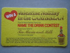 Tia Maria Valentine Holiday In The Caribbean Name The Drink Contest 1982 Coaster