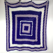 CROCHET Afghan Blanket PURPLE Lavender White Square Geometric Pattern 36 x 31
