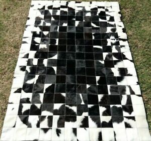 NEW COWHIDE PATCHWORK CARPET AREA RUG Cow hide BLACK & WHITE 4ft x 6ft