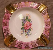 Royal Stafford Hand Painted Bone China Ashtray England Pink Gold Rose