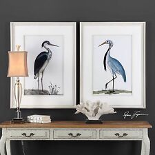 TWO NEW LARGE BIRD PRINTS PICTURE AGED WHITEWASHED WOOD FRAMES BEACH LAKE WALL