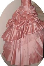 Maggie Sottero Pink Ruffle Sequin Beaded Tube Top Wedding Dress Size 4