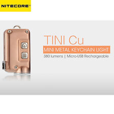 NITECORE TINI Cu Copper Flashlight Mini USB Rechargeable Keychain KeyLight 380Lm