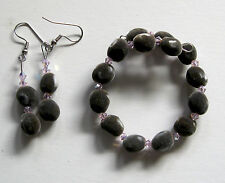 Hawaiian mgambo seed and rosaline AB Swarovski crystal handmade jewelry set