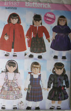 """18"""" GIRL DOLL CLOTHES Butterick Sewing Pattern  # 5587 American Made NEW Uncut"""