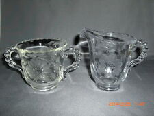Vintage Imperial Glass Hughes Cornflowers Cut Candlewick Creamer & Sugar Bowl