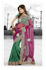 Women Designer Sari Bollywood Net Saree Suit Salwar Kameez - Pink Green One size