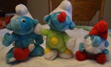 Vintage Lot of 3 Plush Smurf Peyo Papa Clown Cupid
